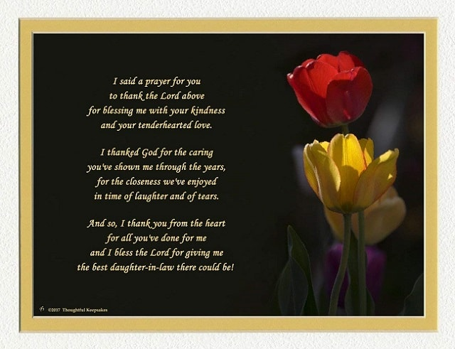 Daughter in Law Flower Poem Prayer