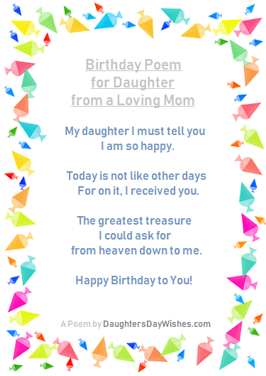 Admirable Hey Mom Is It Your Daughters Birthday Here Are Some Poems For You Personalised Birthday Cards Veneteletsinfo